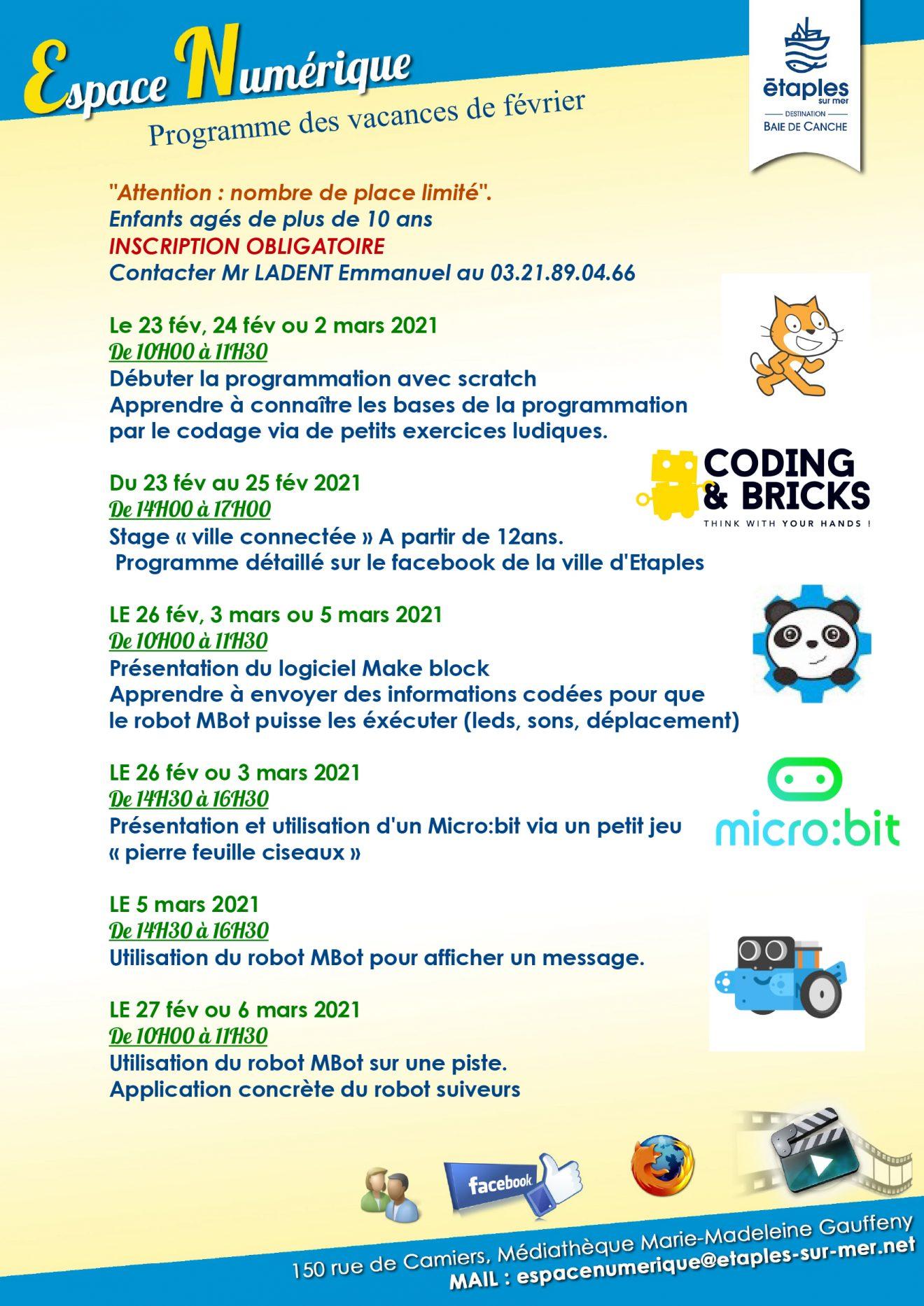 """Programme des vacances scolaires """"Espace Numérique"""""""